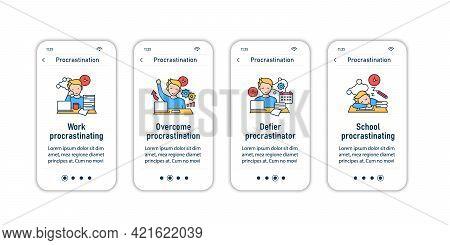 Procrastination Onboarding Mobile App Screens. Postpone Unpleasant Tasks For Later.delay. Overwhelme