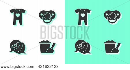 Set Sand In Bucket With Shovel, Baby Clothes, And Dummy Pacifier Icon. Vector