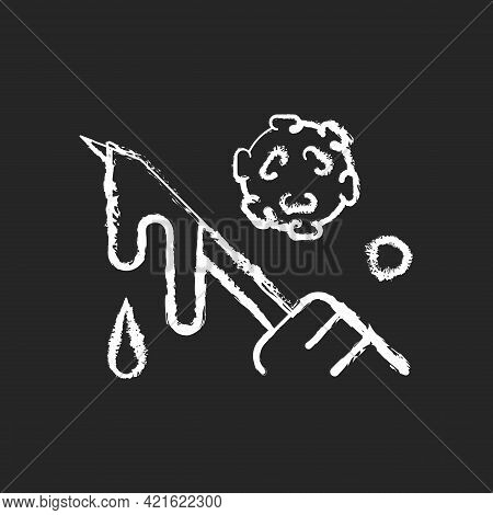Blood Chalk White Icon On Black Background. Hospital Waste Transmitting Infectious Material. Biologi