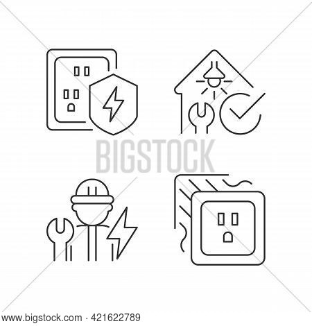 Electrician Service Linear Icons Set. Surge Protection. Safety Inspection. Operating With Devices. C