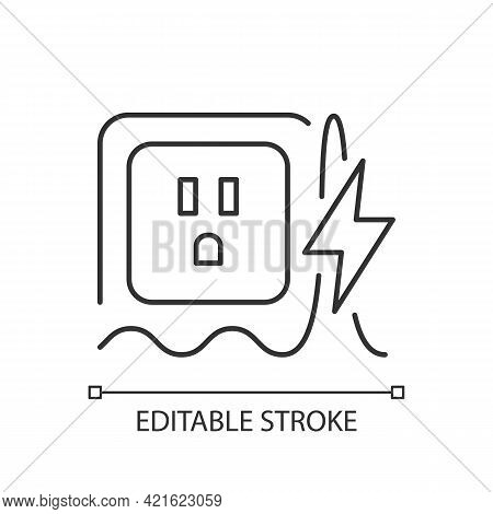 Power Surge Linear Icon. Brief Overvoltage Spikes. Unexpected Electricity Flow Interruption. Thin Li