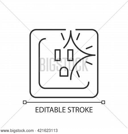 Sparking Outlet Linear Icon. Short Circuit. Crackling Sounds. Faulty Wiring. Water Exposure. Thin Li