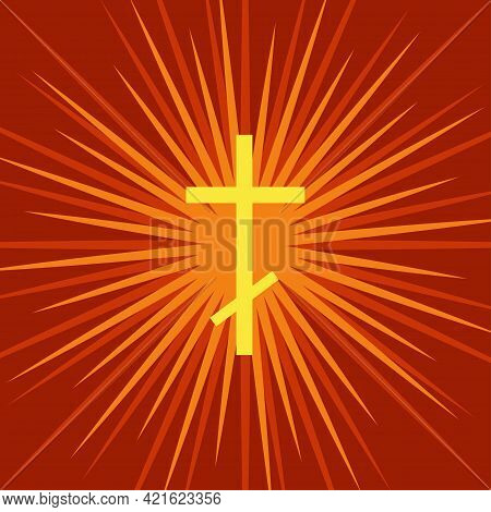 Holy Spirit Vector Concept Illustration With A Glowing Cross And Rays Of Light.