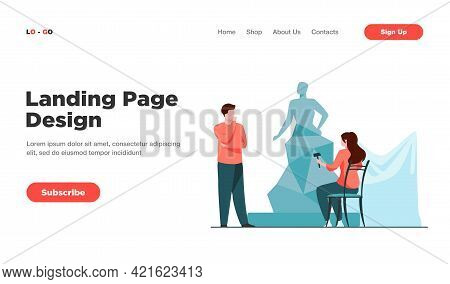 Woman Creating Sculpture From Stone. Client, Handwork. Flat Vector Illustration. Artwork And Creatio