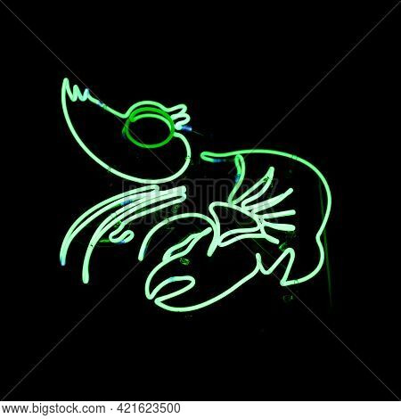 Close-up On A Green Neon Light Shaped Into A Lobster.
