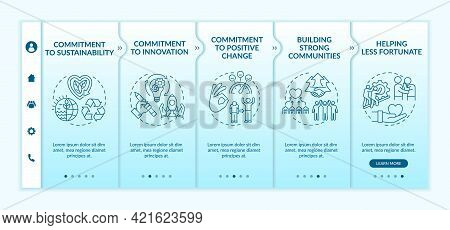 Organizational Core Values Onboarding Vector Template. Responsive Mobile Website With Icons. Web Pag