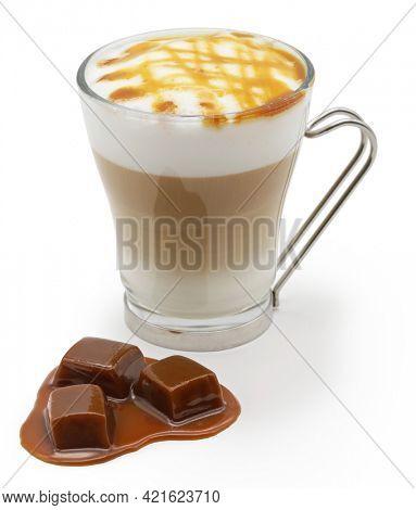 homemade caramel macchiato isolated on white background