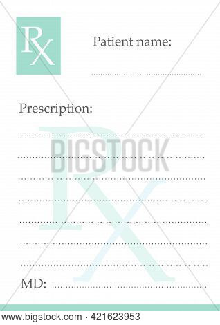 Rx Form For Prescription Drugs For Printing. Medical Form. Formceutical Document Isolated On White B
