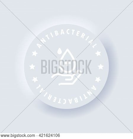 Antibacterial Soap Icon Or Antiseptic Gel Label. Vector. Hygiene Product Icon. Hand With Drop. Toile