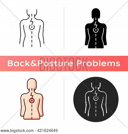 Pressure On Spinal Nerves Icon. Muscle Spasms. Pain Between Shoulder Blades. Numbness, Tingling. Dam