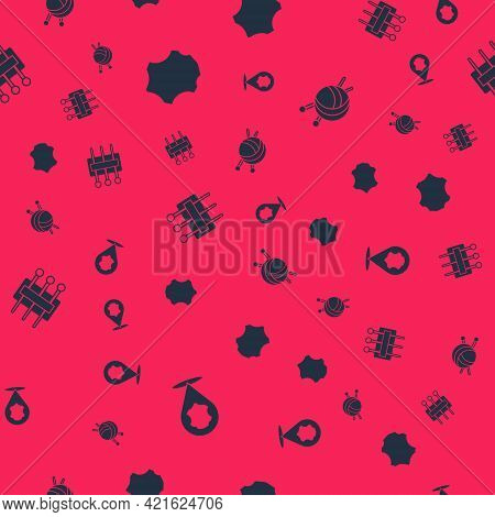 Set Leather, , Needle For Sewing And Yarn Ball With Knitting Needles On Seamless Pattern. Vector