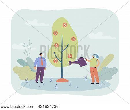Happy Couple Watering Money Tree. Flat Vector Illustration. Woman Holding Waterpot, Man Standing Nea