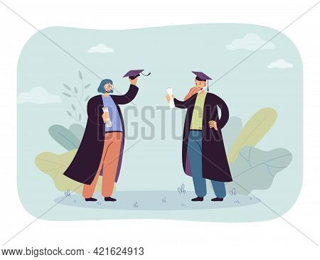 Two Cartoon Female Graduates In Gowns And Hats. Flat Vector Illustration..happy Graduated Girls Stan