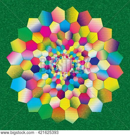 Dotted Halftone Grunge Vector Spiral Color Pattern Or Texture. Stipple Dot Backgrounds With Hexagons