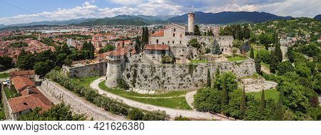 Beautiful Panoramic View From A Drone To The Medieval Castle Of Brescia City. Lombardy, Italy
