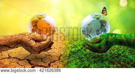 Two Orb Hands With Very Different Environments Earth Day Or World Environment Day Global Warming And