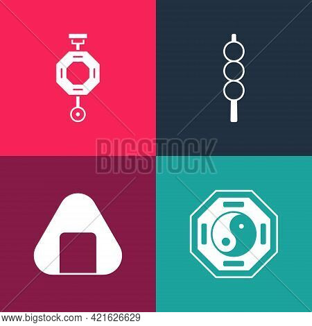 Set Pop Art Yin Yang, Sushi, Meatballs On Wooden Stick And Chinese Paper Lantern Icon. Vector