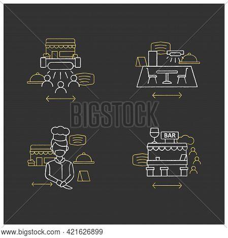 Restaurant New Normal Chalk Icons Set.disinfection, Ultraviolet Light Disinfection, Worker Uniform,