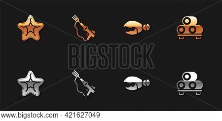 Set Starfish, Fishing Harpoon, Lobster Or Crab Claw And Sushi Cutting Board Icon. Vector