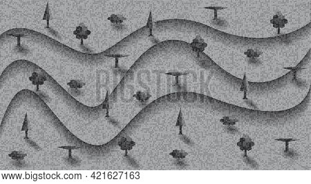 Relief Landscape With Terraces And Trees. Abstract Grange Background With Layers. Vector Illustratio