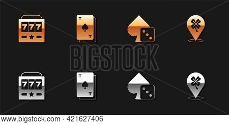 Set Slot Machine With Jackpot, Playing Card Spades, Game Dice And Casino Slot Clover Icon. Vector