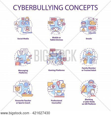 Cyberbullying Concept Icons Set. Harassing People Online Idea Thin Line Rgb Color Illustrations. Soc