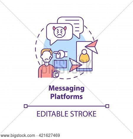 Messaging Platforms Concept Icon. Cyberbullying Channel Idea Thin Line Illustration. Blackmailing Vi