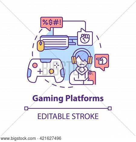 Gaming Platforms Concept Icon. Cyberbullying Channel Idea Thin Line Illustration. Chatting While Pla