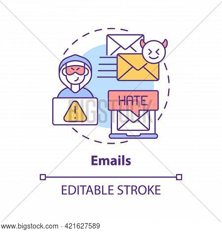 Emails Concept Icon. Cyberbullying Channel Idea Thin Line Illustration. Sending Rude Texts And Threa