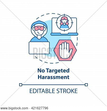 No Targeted Harassment Concept Icon. Social Media Public Conversation Safety Idea Thin Line Illustra