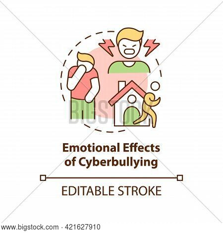 Emotional Cyberbullying Effects Concept Icon. Negative Consequences Idea Thin Line Illustration. Emb