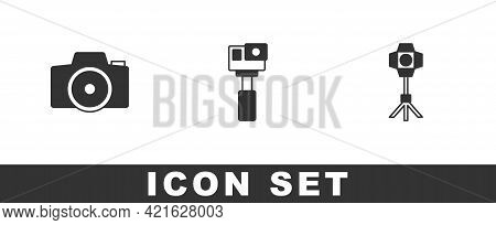 Set Photo Camera, Action And Softbox Light Icon. Vector