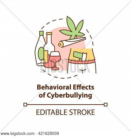 Behavioral Cyberbullying Effects Concept Icon. Negative Aftermaths Idea Thin Line Illustration. Enga