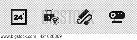 Set Thermostat, Digital Door Lock, Electric Extension Cord And Web Camera Icon. Vector