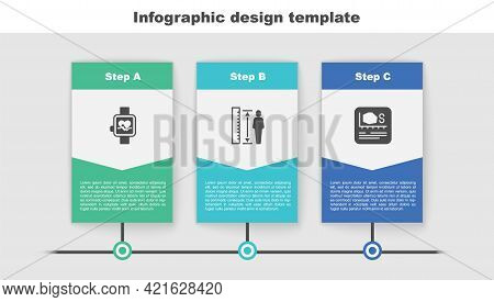 Set Smart Watch, Measuring Height Body And Area Measurement. Business Infographic Template. Vector