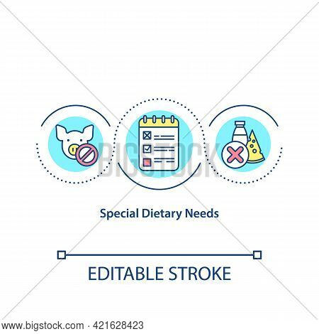 Special Dietary Needs Concept Icon. Students That Can Not Eat Foods That Contain Lactose. Special Me