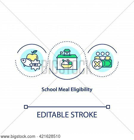School Meal Eligibility Concept Icon. Healthy Snacks For All School Students. Healthy And Organic Me