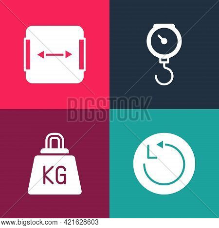 Set Pop Art Radius, Weight, Hand Scale Spring Mechanical And Area Measurement Icon. Vector