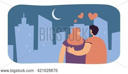 Couple In Love Admiring City At Night. Flat Vector Illustration. Man And Woman On Romantic Date, Loo