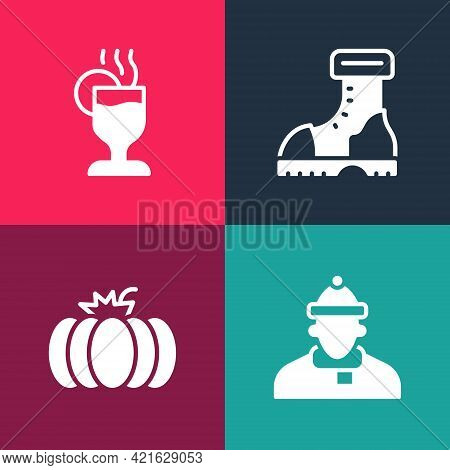 Set Pop Art Autumn Clothes, Pumpkin, Waterproof Rubber Boot And Mulled Wine Icon. Vector