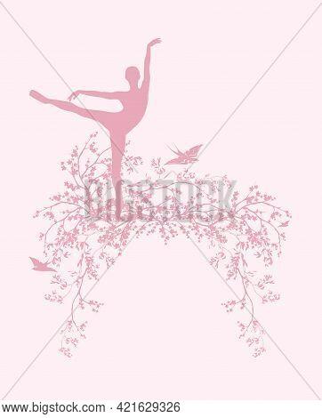 Blooming Spring Season Tree Branches, Dancing Ballerina Girl And Flying Swallow Birds Vector Silhoue