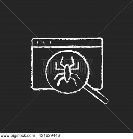 Computer Viruses Chalk White Icon On Black Background. Search For Bugs With Antivirus. Diagnostics O