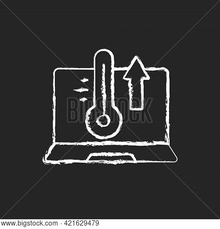 Computer Overheating Chalk White Icon On Black Background. High Processor Temperature. Hot Notebook,