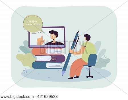 Cartoon Man Watching Online Master Class. Flat Vector Illustration. Tiny Man Sitting On Chair With G