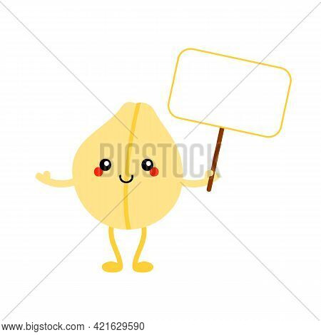 Cute Smiling Cartoon Style Chickpeas, Chick Pea Seed Character Holding Sign, Card, Banner In Hand.