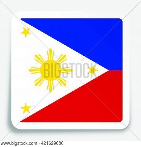 Flag Of Republic Of Philippines Icon On Paper Square Sticker With Shadow. Button For Mobile Applicat