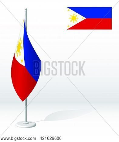 Flag Of Republic Of Philippines On Flagpole For Registration Of Solemn Event, Meeting Foreign Guests