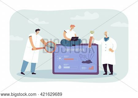 Cartoon Tiny Scientists Doing Agroanalysis. Flat Vector Illustration. Researchers Making Agrochemica