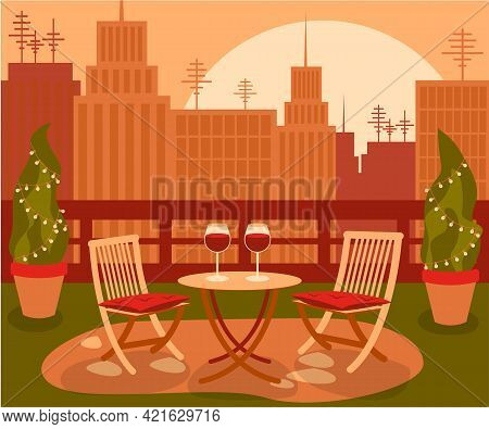 Cozy Beautiful Garden On Rooftop With Table And Two Chair In The Big City With The Cityscape On Suns