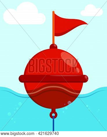 Restrictive Sea Buoy On Waves In Cartoon Style. Regulation And Safety Of Shipping In Ocean. Color Ve